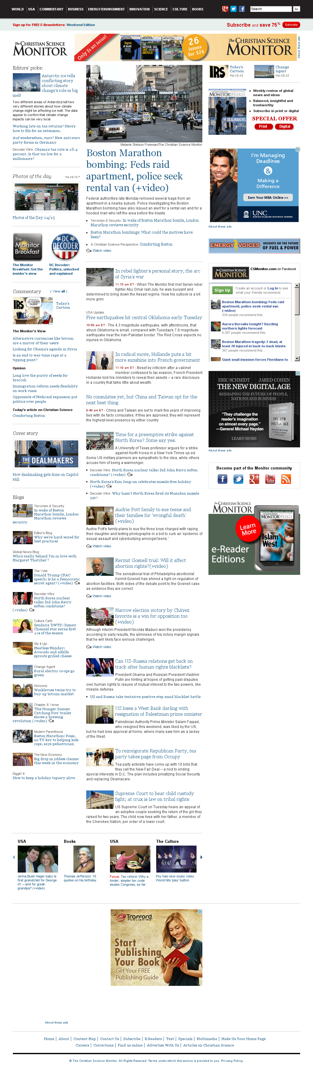 The Christian Science Monitor at Tuesday April 16, 2013, 4:04 p.m. UTC