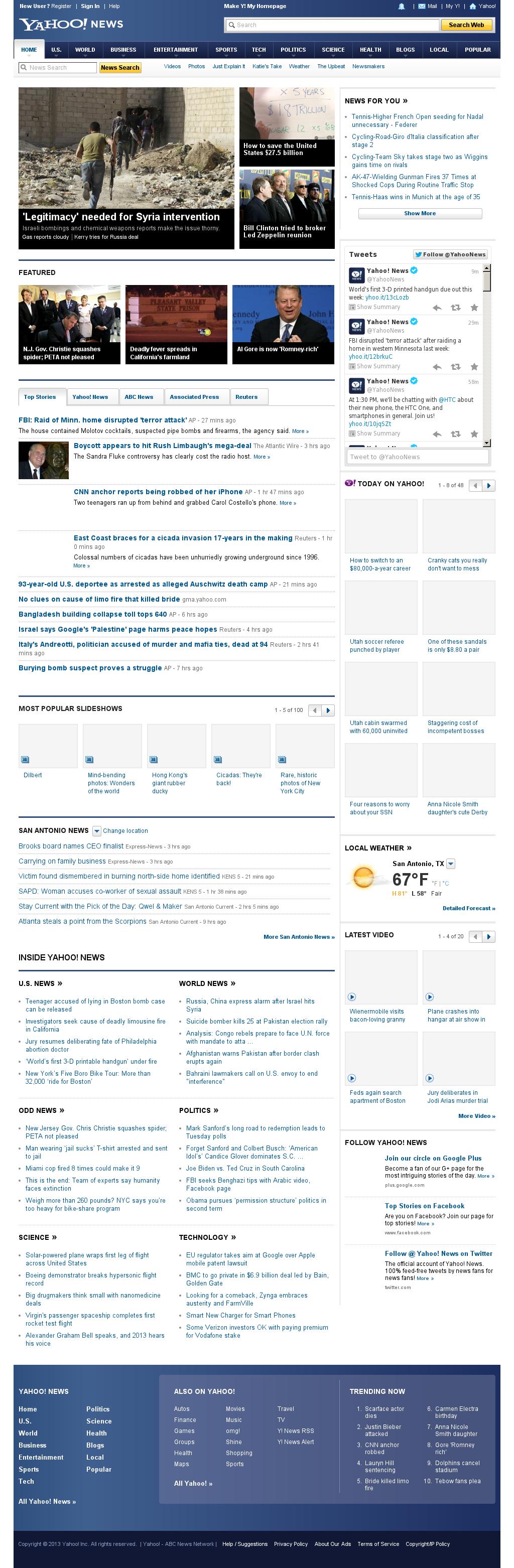 Yahoo! News at Monday May 6, 2013, 4:32 p.m. UTC