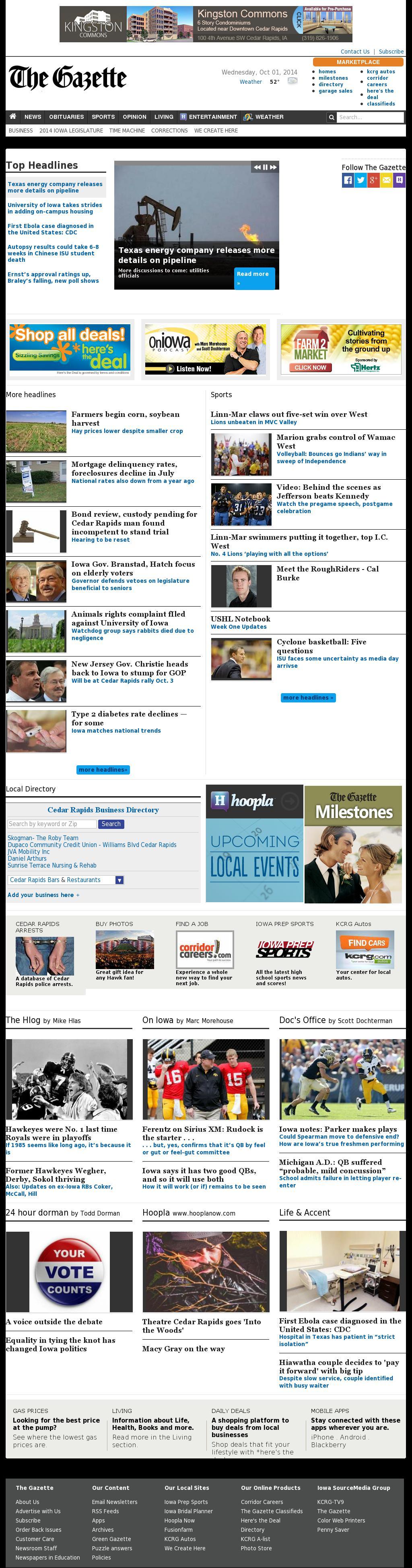 The (Cedar Rapids) Gazette at Wednesday Oct. 1, 2014, 1:05 p.m. UTC