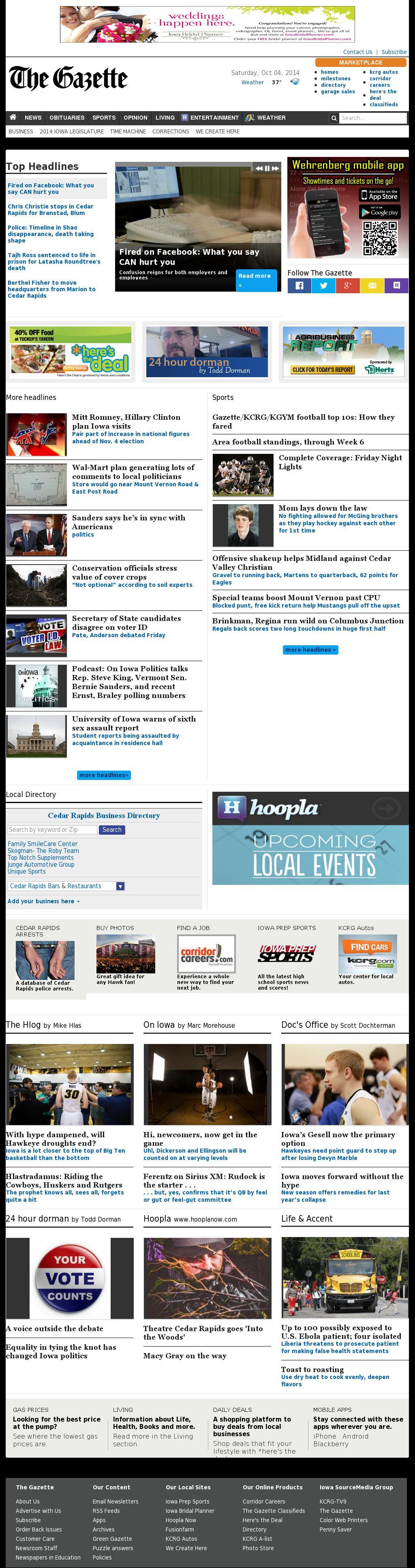 The (Cedar Rapids) Gazette at Saturday Oct. 4, 2014, 10:05 a.m. UTC