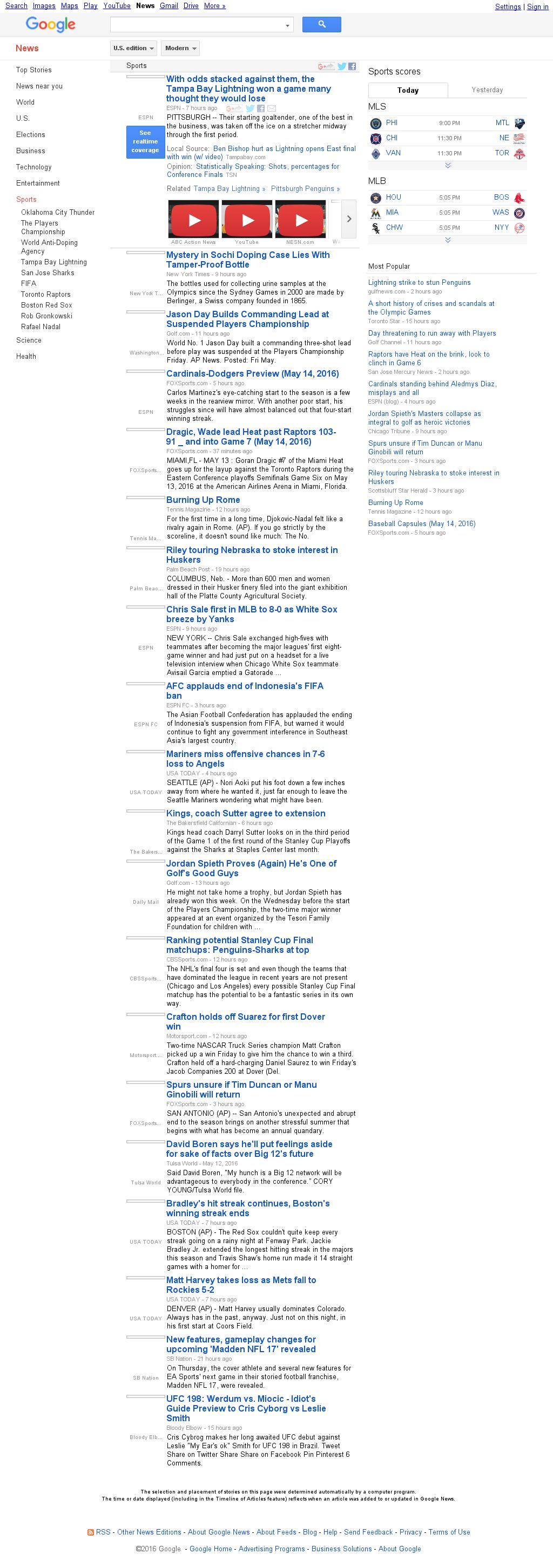 Google News: Sports at Saturday May 14, 2016, 12:07 p.m. UTC