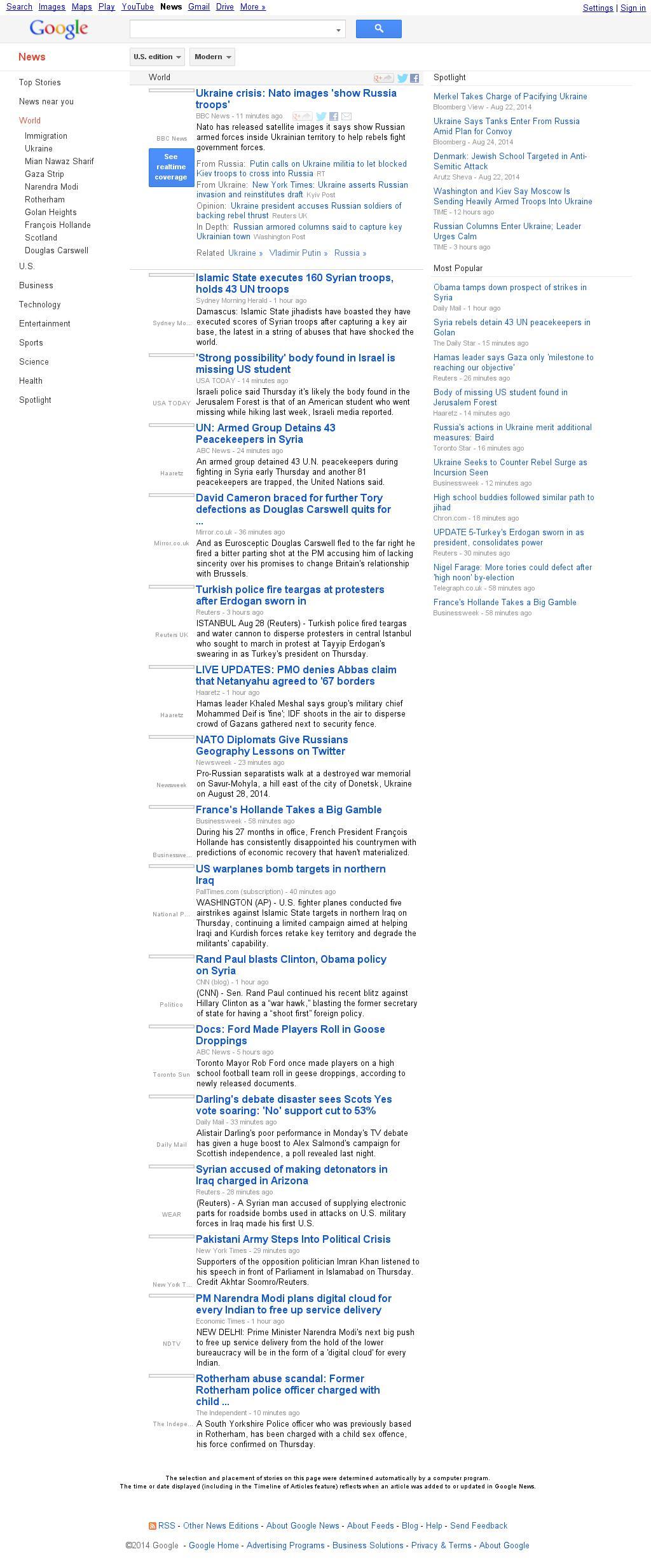 Google News: World at Thursday Aug. 28, 2014, 10:07 p.m. UTC