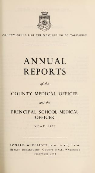 Cover of: [Report 1961] | West Riding of Yorkshire (England). County Council